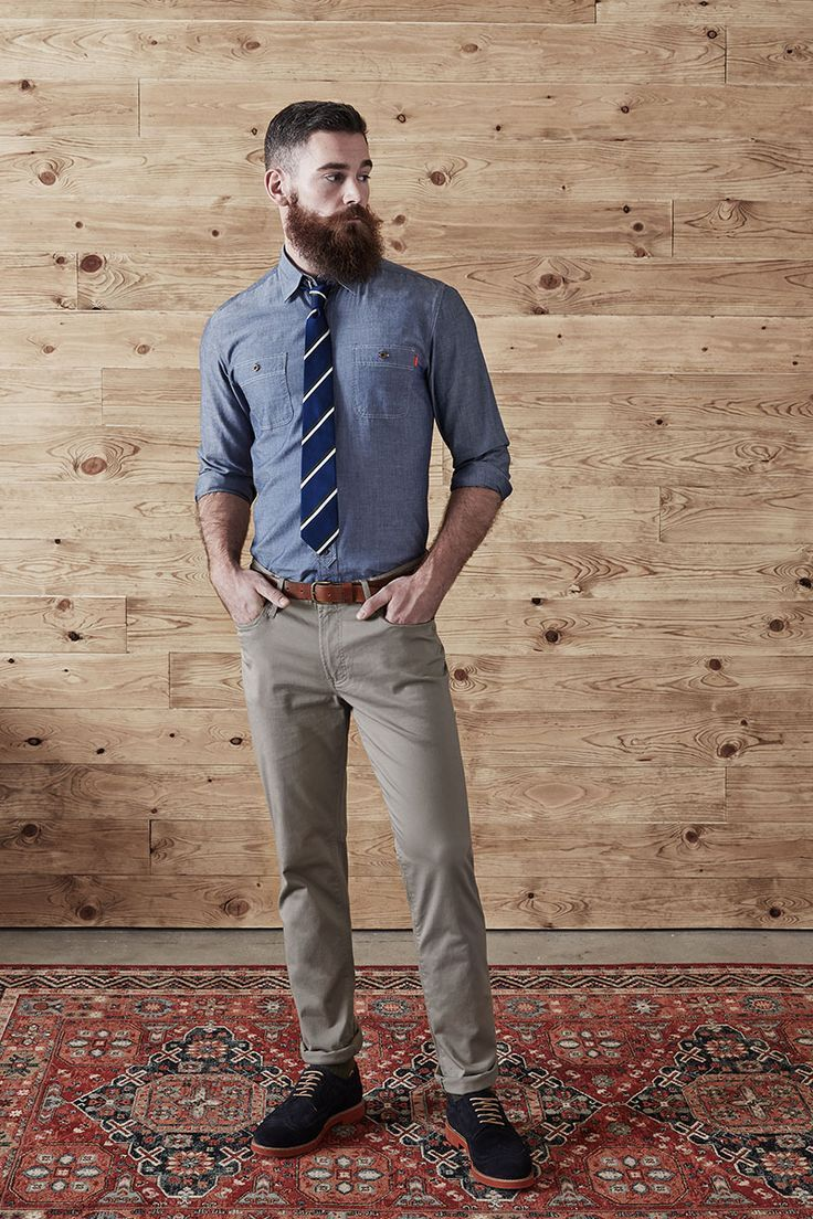 Men S Blue Chambray Dress Shirt Khaki Chinos Black Suede Brogues Navy And White Vertical Striped Tie Mens Outfits Dapper Style Style [ 1104 x 736 Pixel ]