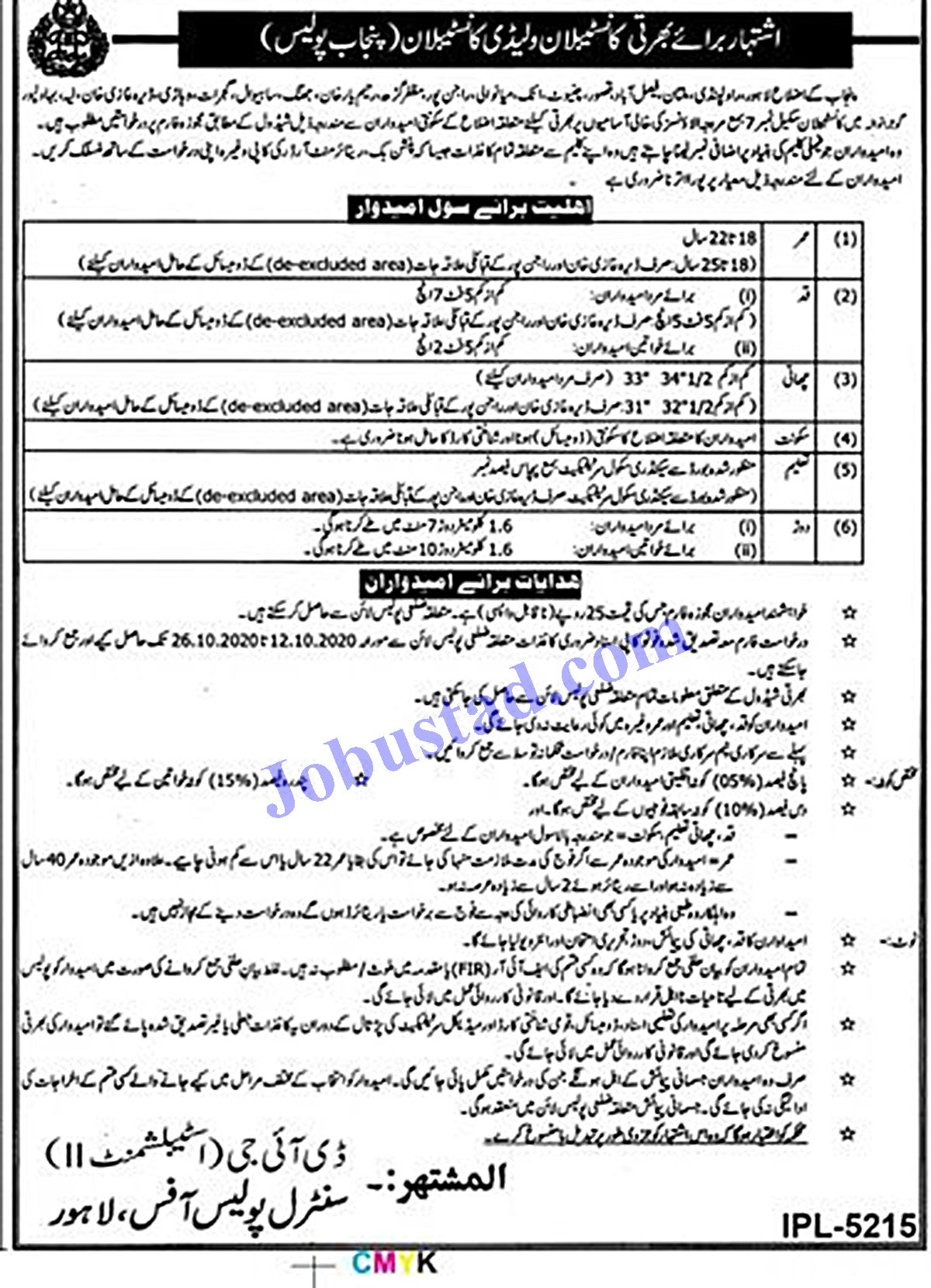 Punjab Police Constable And Lady Constable Jobs 2020 Advertisement Latest Police Jobs Jobs In Pakistan Newspaper Jobs