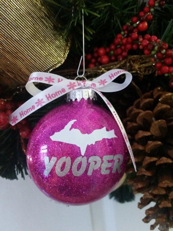 Michigan Yooper Ornament - Christmas Gift Home I love Michigan Upper Peninsula comes in Gift Box Whi