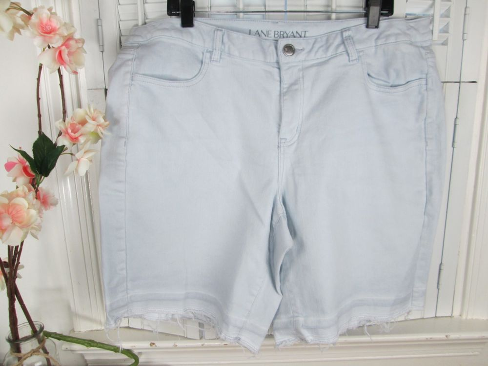 3f8585caf4f LANE BRYANT Plus size 18 Light Blue Stretch Denim BERMUDA Jean Shorts  Fringe  LaneBryant  BermudaWalking