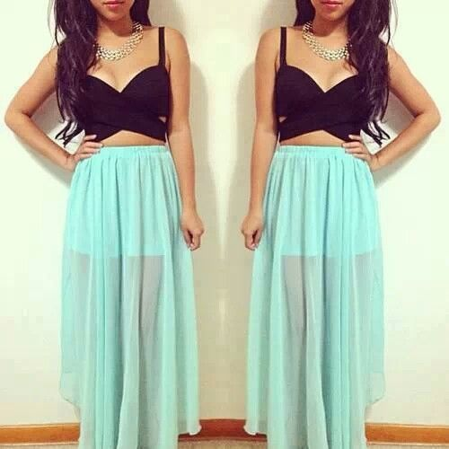 Maxi Skirts and Crop Tops | Trending...crop tops maxi skirts