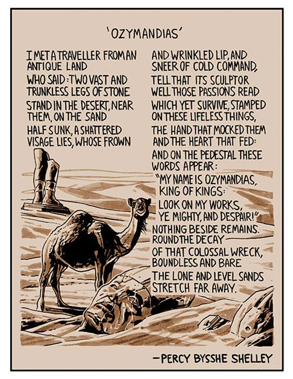 Illustrated Poem Ozymandias By Percy Bysshe Shelley Products