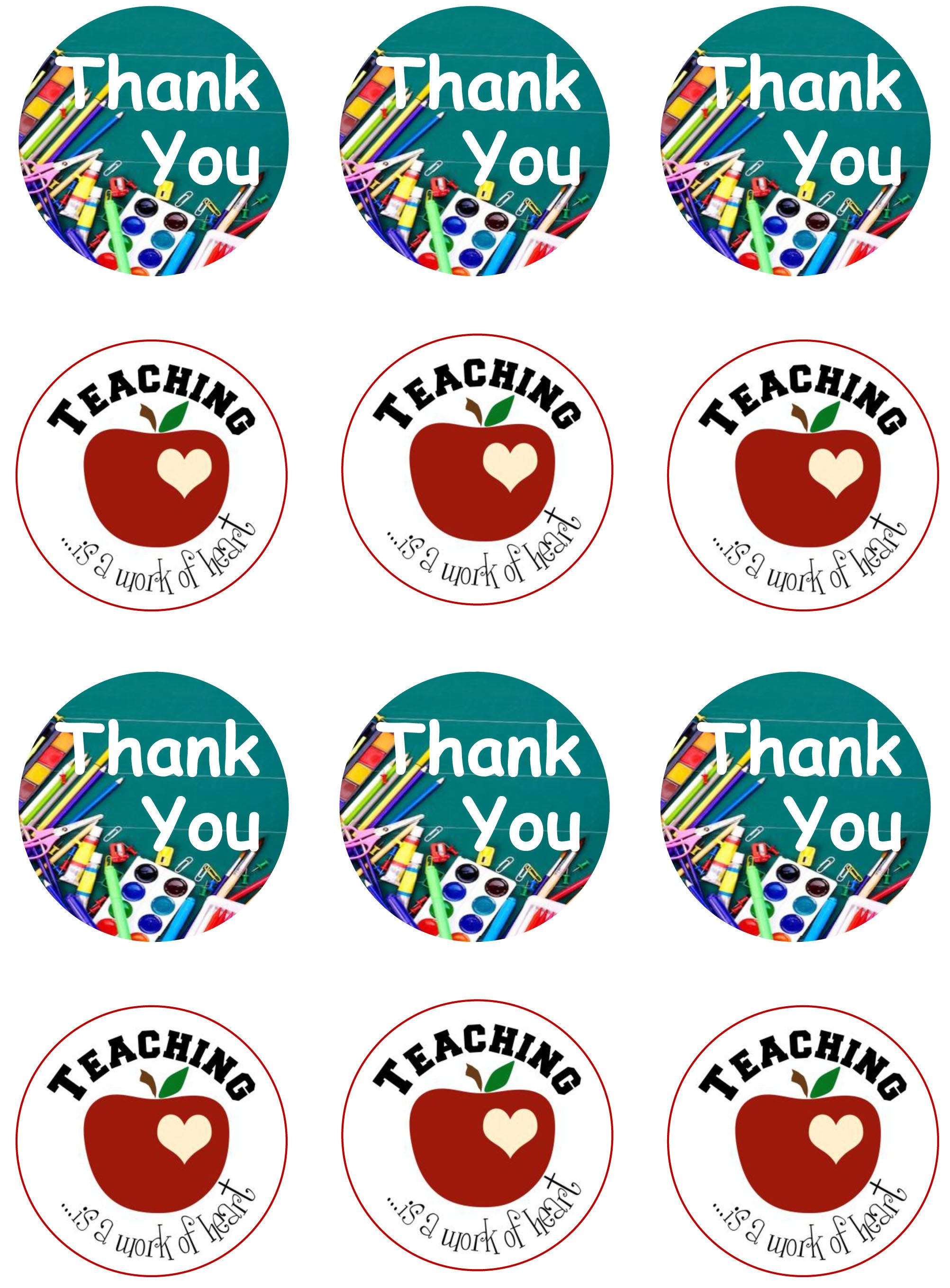 """Thank you Teacher 2/"""" circle cupcake toppers PRE CUT wafer paper"""