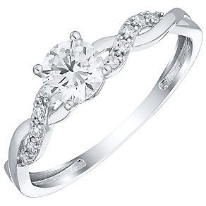 cea3c41bb7c8d0 9ct White Gold & Cubic Zirconia Twist Ring - Product number 4519914 ...
