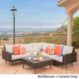 Tahiti Outdoor 4 Piece Wicker Sectional Sofa Set With Cushions By