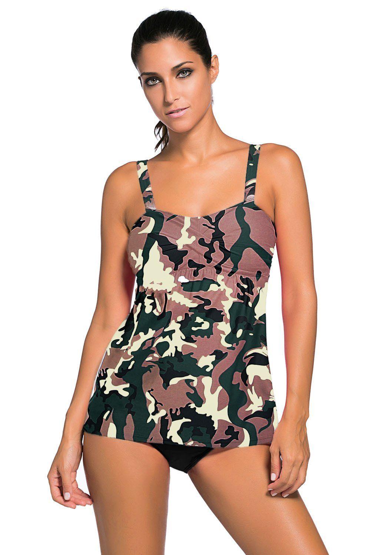 a9b6725d024c0 Camouflage Print 2pcs Swing Tankini Swimsuit. Camouflage Print 2pcs Swing Tankini  Swimsuit Tankini Swimsuits For Women