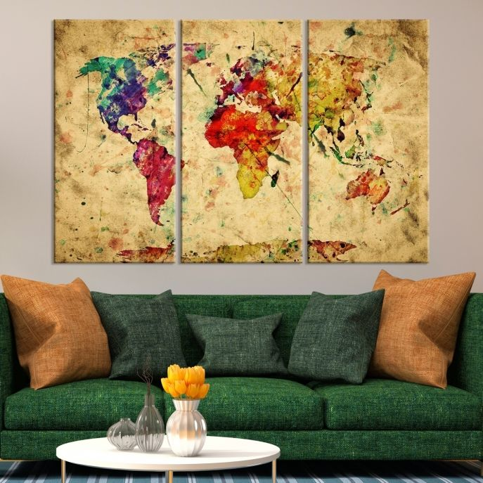 Large Wall Art Colorful World Map on Cream Background Canvas Print ...