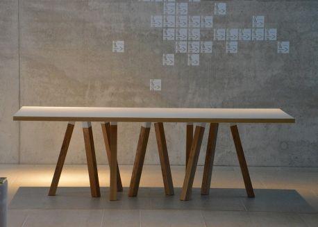 TABLE DE REPAS DESIGN RECTANGLE OU RONDE EN CHENE OU CHENE-HPL BLANC 4  DIMENSIONS 3f46294bd9cc
