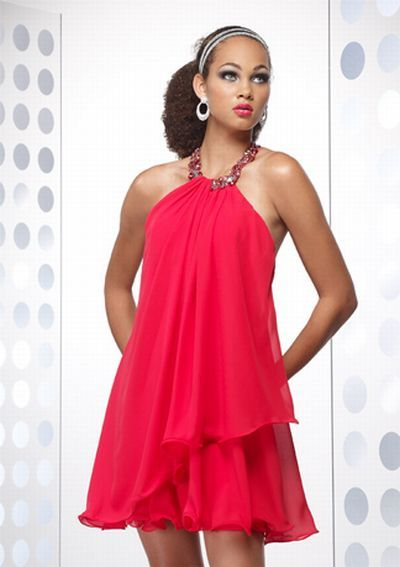 639c2d75ebe Alyce Designs Trapeze Beaded Halter Short Prom Dress 4132