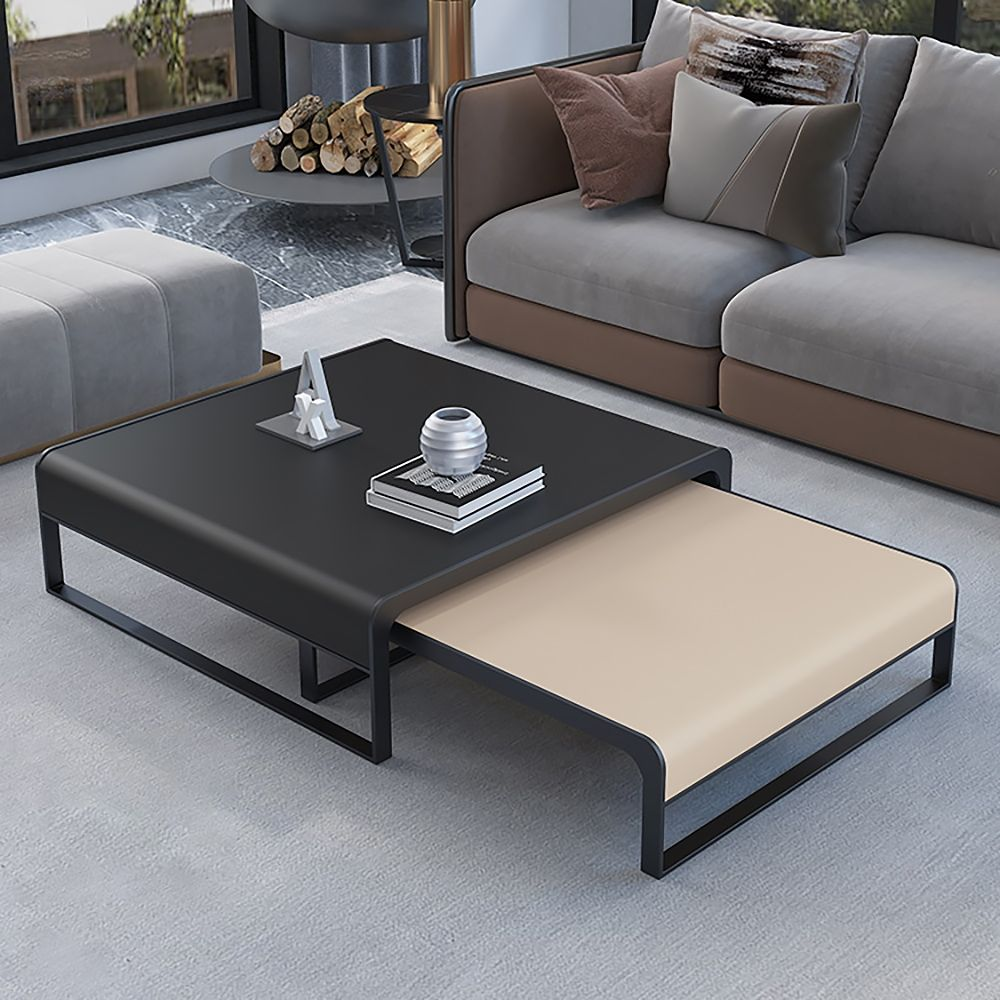 Black Khaki Square Coffee Table Modern Pu Leather Nesting Accent Table Metal In Black Set Of 2 In 2021 Coffee Table Modern Coffee Tables Nesting Accent Tables [ 1000 x 1000 Pixel ]
