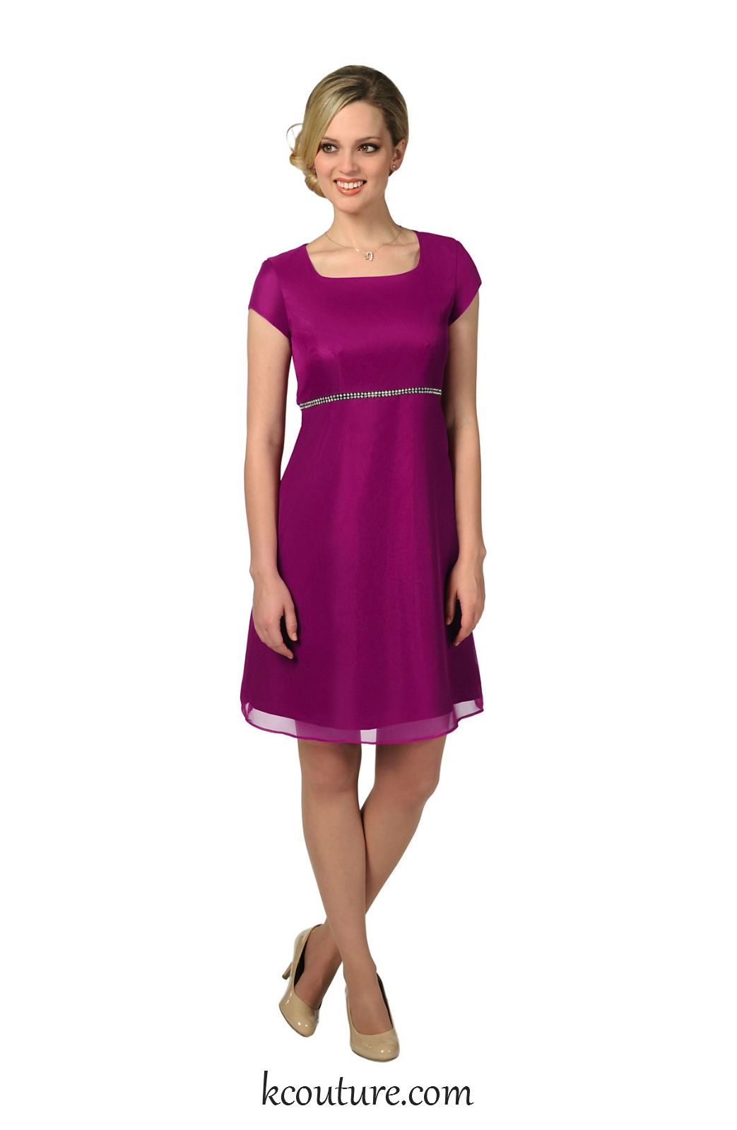 Magenta chiffon knee length bridesmaid dress with sleeves kcouture