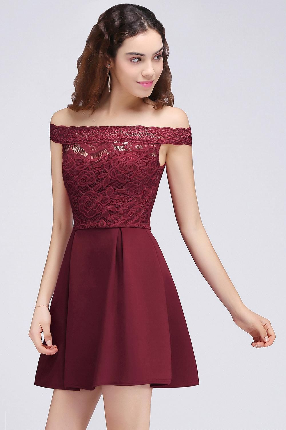 344620b0ad0 In Stock Cocktail Dresses 2018 Simple A Line Boat Neck lace Satin Women  Short Vestidos Sexy Women off shoulder Cocktail Dresses  cocktaildresses   princess ...