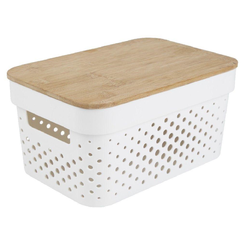 Paniere De Rangement Blanche Avec Couvercle En Bambou Petit Modele Gifi 521157x En 2020 Rangement Rangement Plastique Box De Rangement