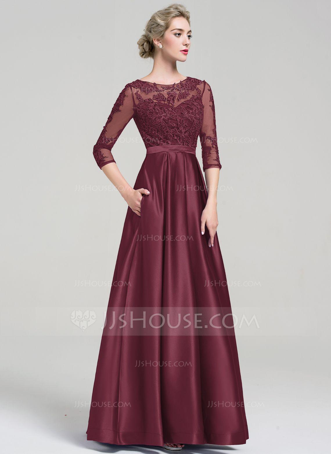 US$ 16.16] Ball-Gown Scoop Neck Floor-Length Satin Evening Dress