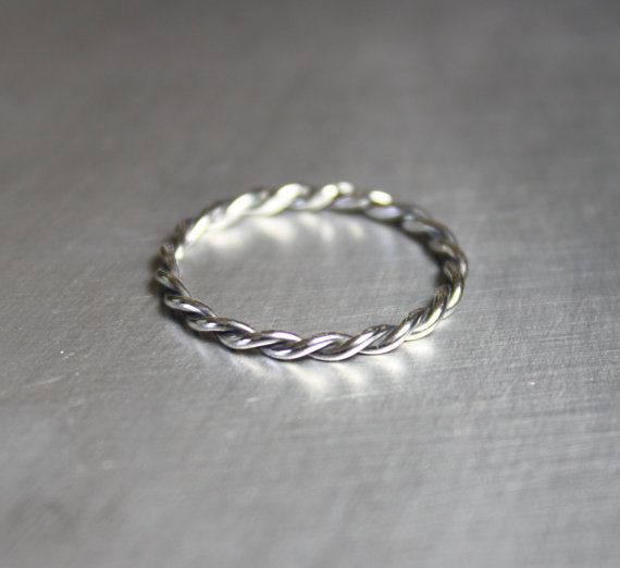 Silver Twist Ring Braided Ring Thin Silver Ring