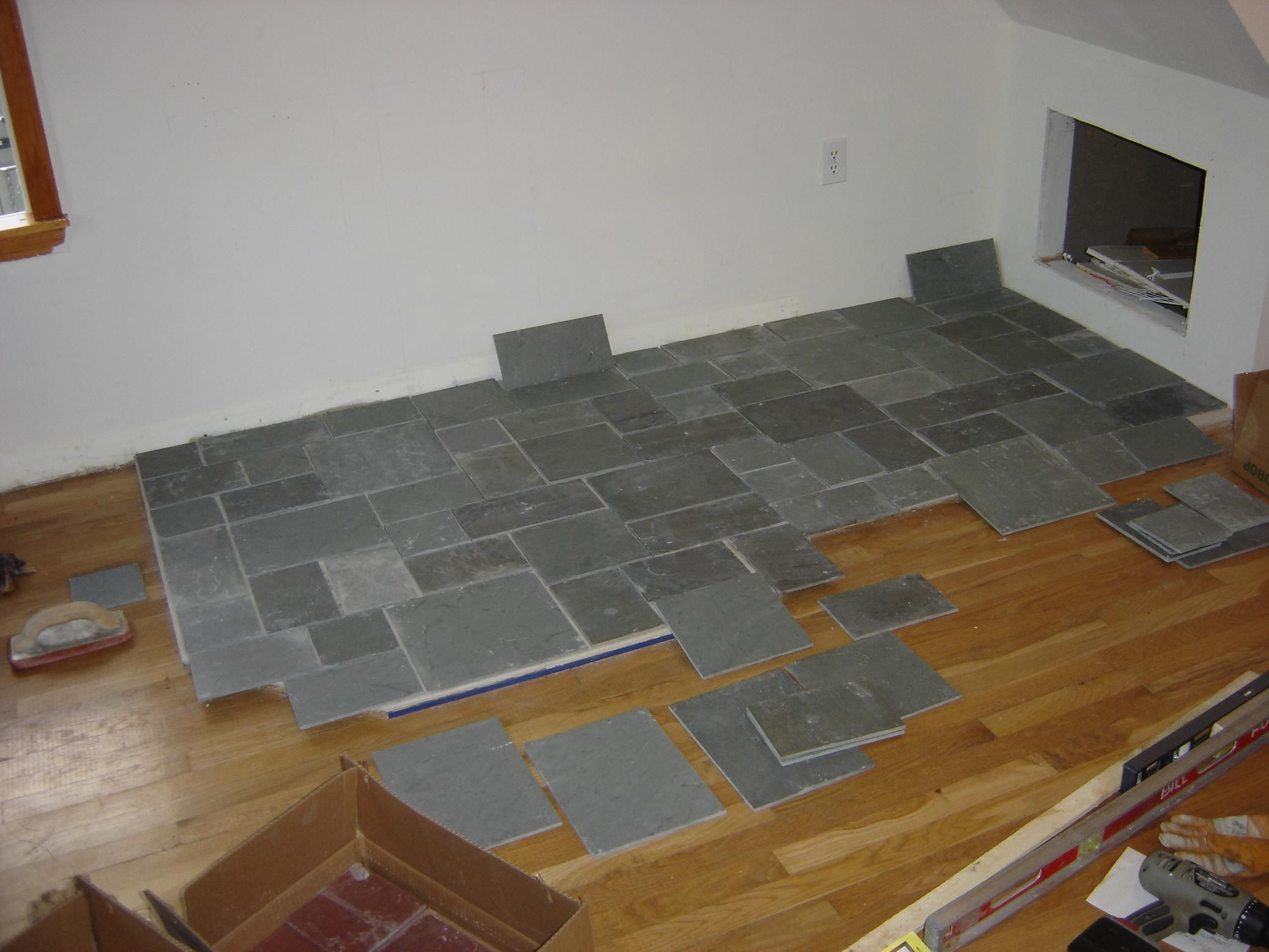 black slate showers | edge tiles cut to fit permanently ...