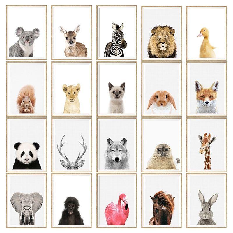 Baby Animal Poster Panda Giraffe Elephant Canvas Painting Nursery Wall Art Nordic Picture Kids Room Decoration Elephant Canvas Nursery Paintings Nursery Wall Art