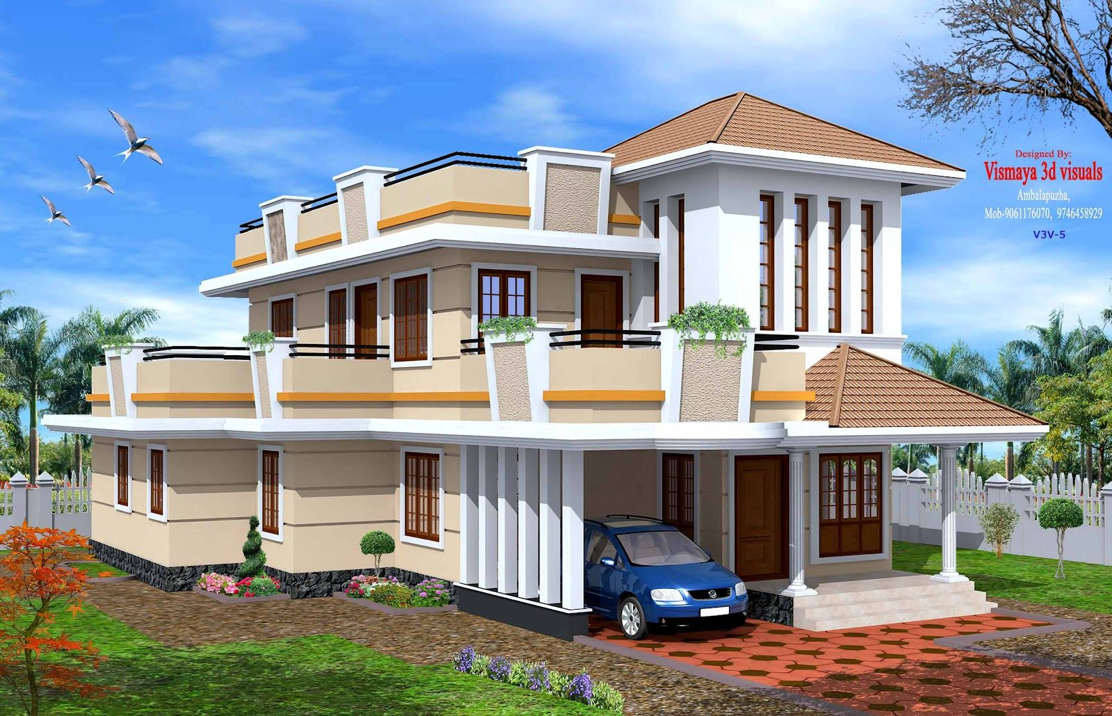 Creative Exterior Design Attractive Kerala Villa Designs