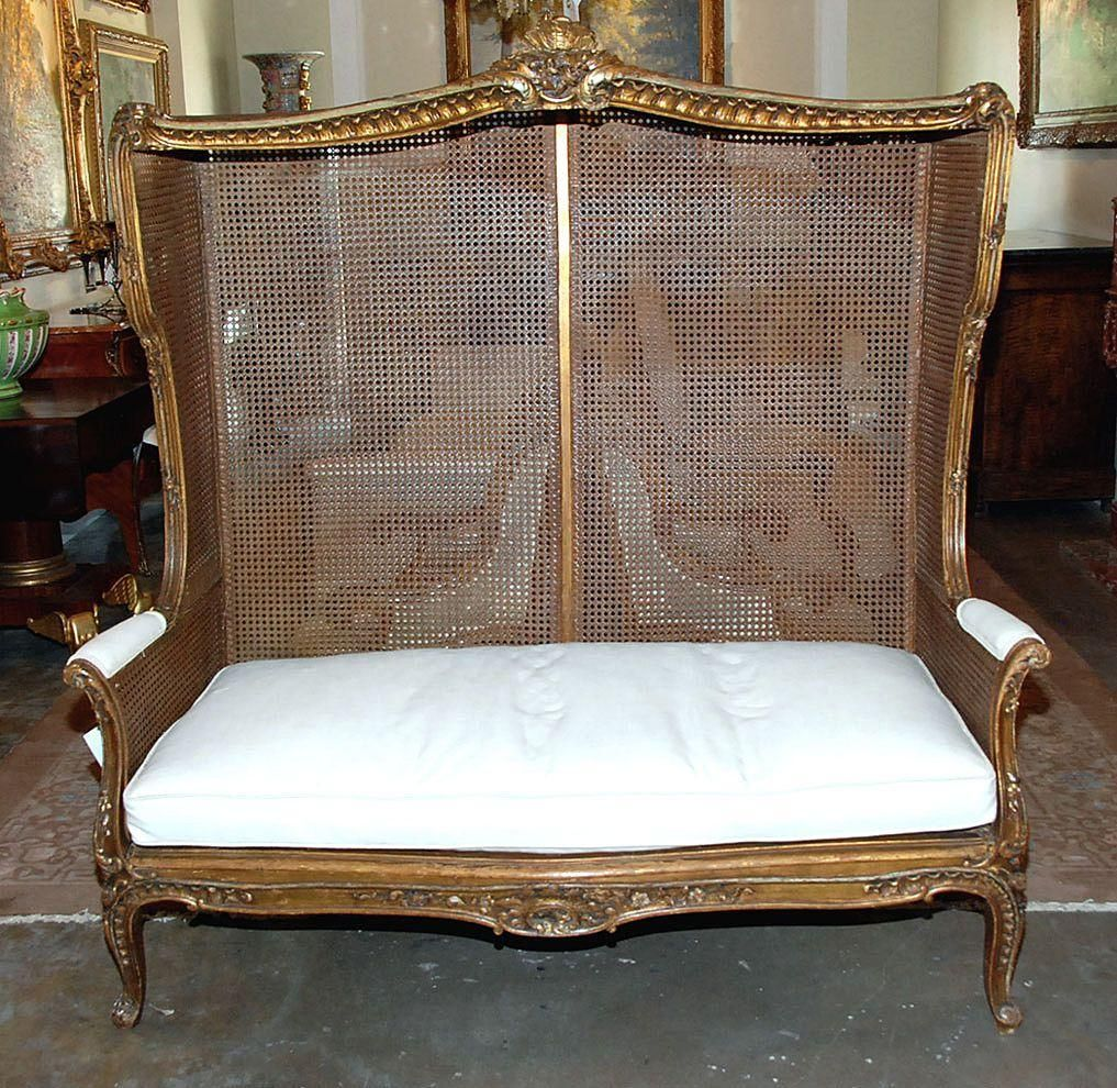Gracious Louis Xv Style Canopy Settee Antique Furniture