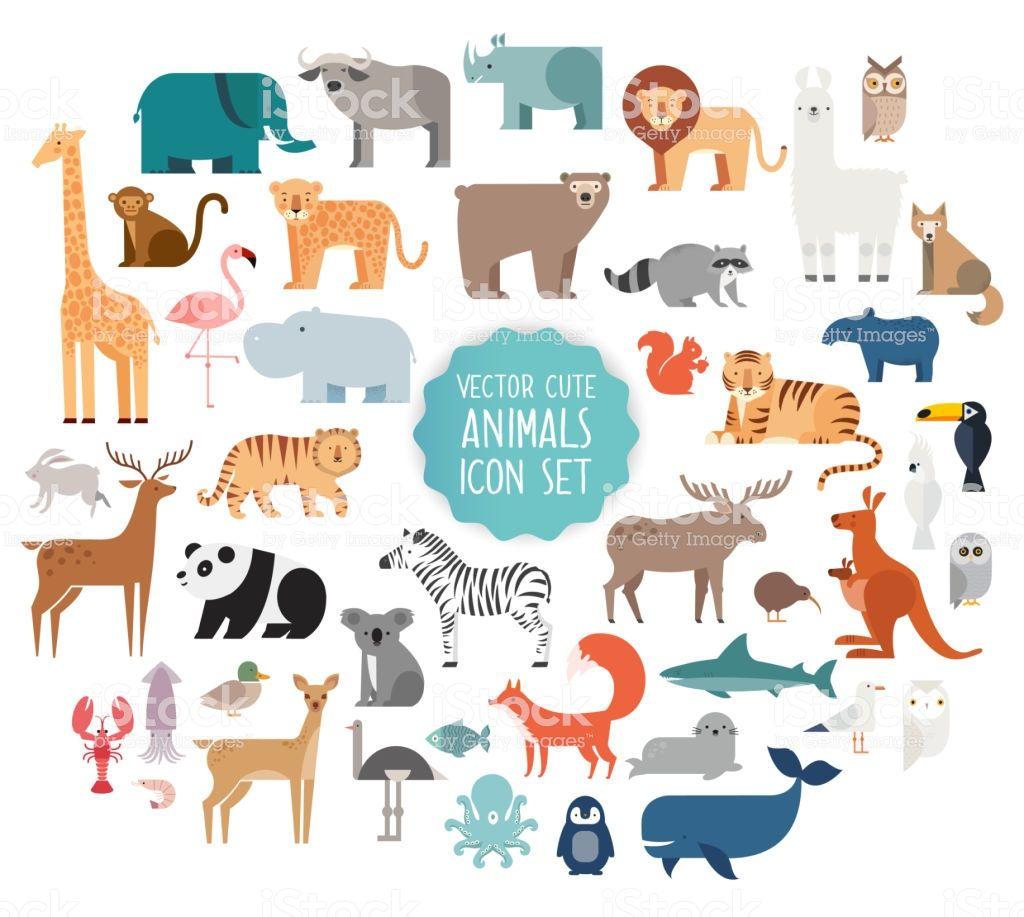 Cute Animal Vector Illustration Icon Set Isolated On A White Animal Illustration Kids Animal Illustration Cute Animal Illustration