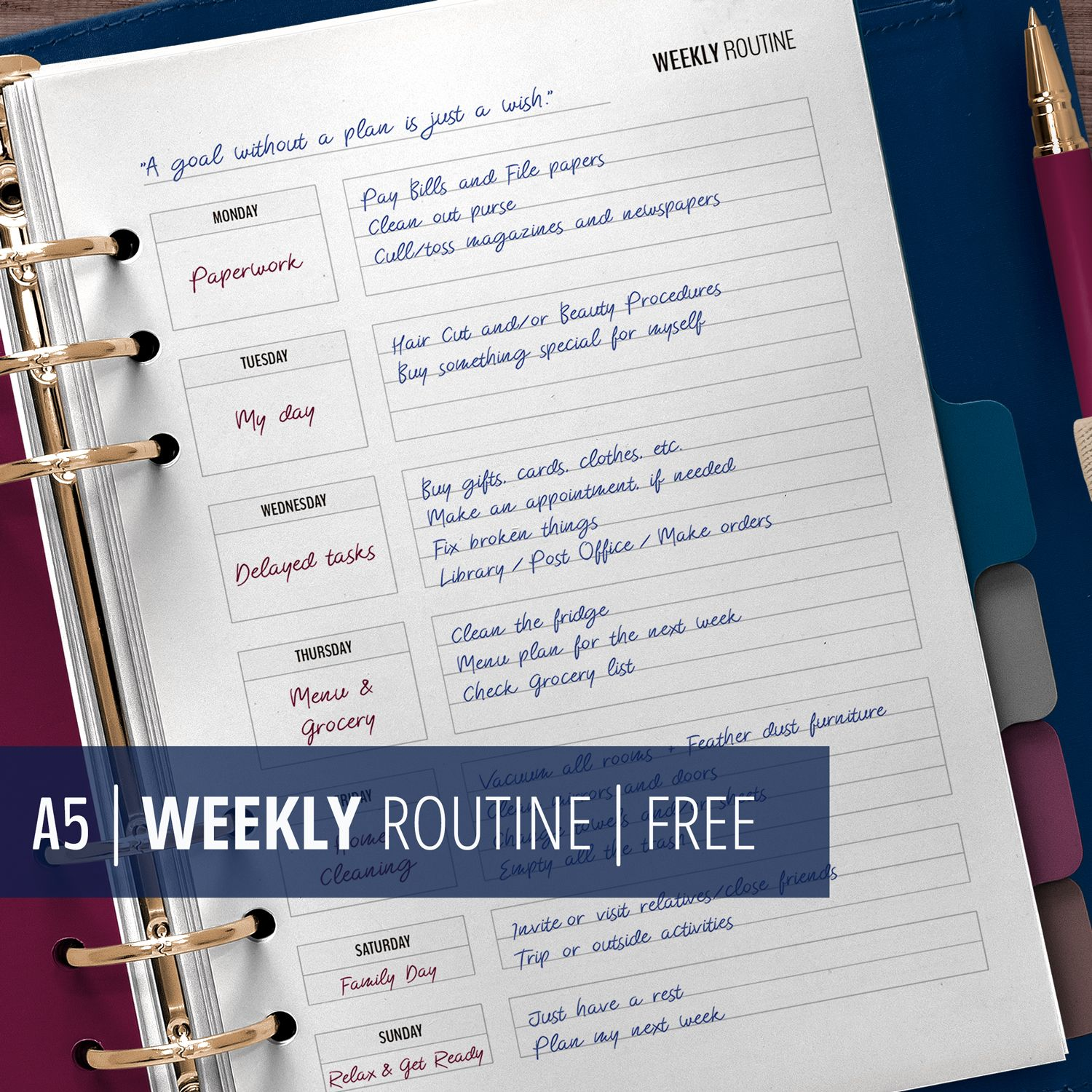 Weekly Routine Printable, A5 Planner Insert for Flylady's ...