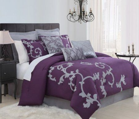 Amazon Com 9 Piece Queen Duchess Plum And Gray Comforter Set