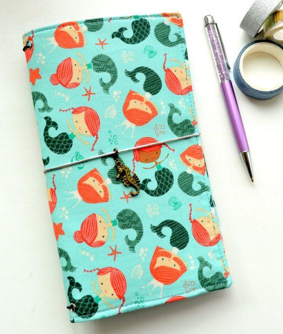 Fabric Cover Fauxdori - Сute mermaids, Travelers Notebook, Midori insert, Cover…