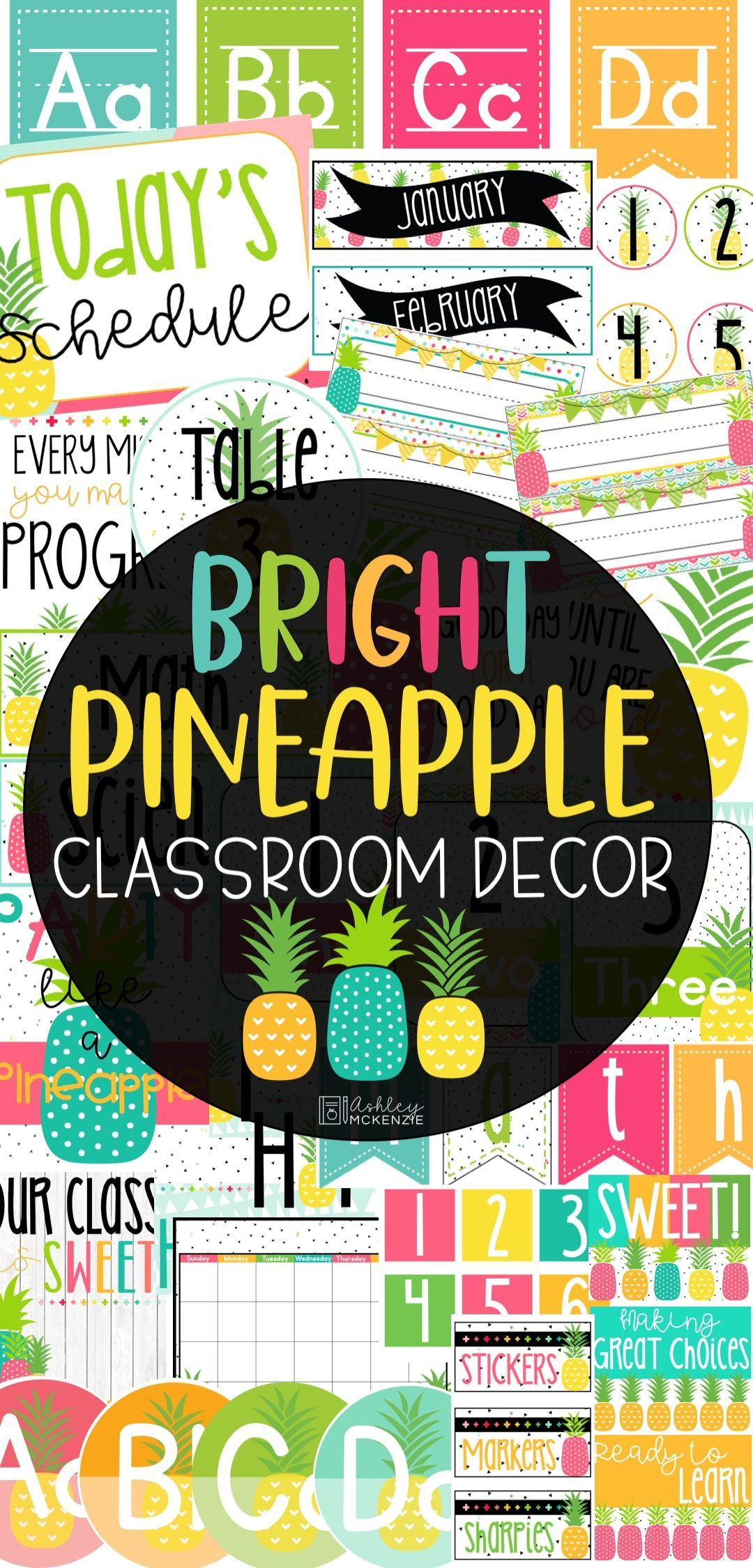 Bright Pineapple Classroom Decor - Make your classroom the envy of the school with this bright and