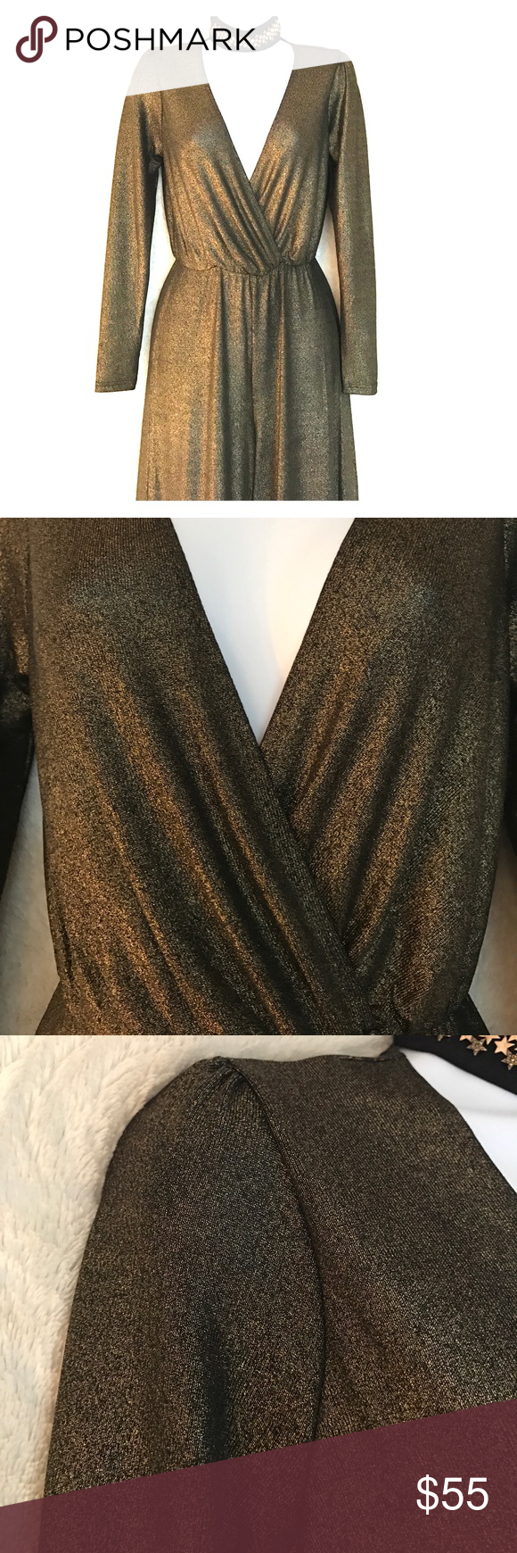 """Disco 70s Gold Bronze Jumpsuit So disco! I love this jumpsuit! It's going to be hard to part with so I'm firm on the price. Just promise me if you buy it, you'll dance in it. Bc that's what I wanted to do but never had the chance. Retro. Shimmery. Gold! Awesome! Stretchy! Measurements -15"""" from shoulder to where the waist is cinched. It's 39"""" from waist to hem. Inseam, crotch to hem is 28.5"""". Entire jumpsuit from shoulder to hem is 54"""". Oh My Love Other"""