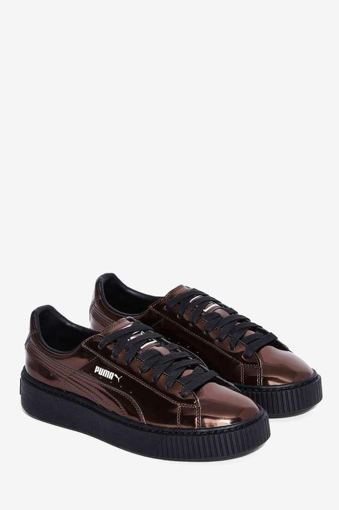 PUMA Basket Platform Metallic Sneaker Pewter Shoes