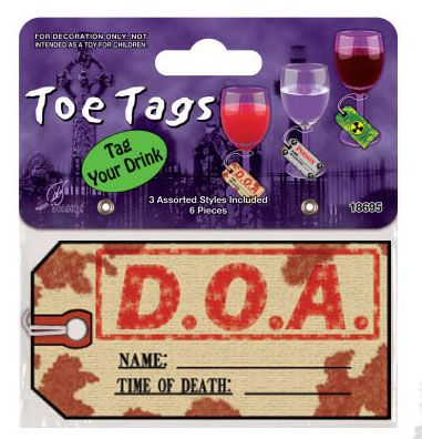 Toe tags - tag your drink pack of 6 | Halloween Party