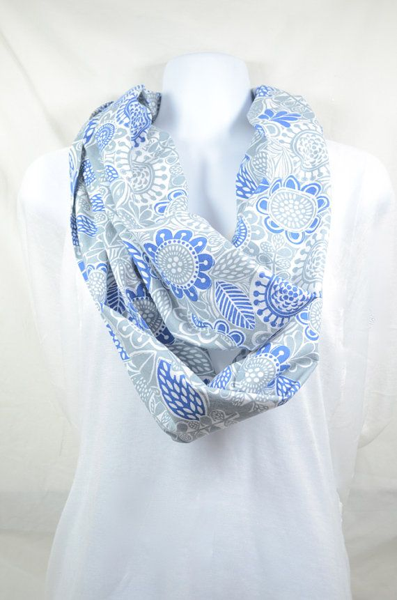 Bird and Floral Infinity Scarf 100 Cotton by WhimsyAbode on Etsy ...