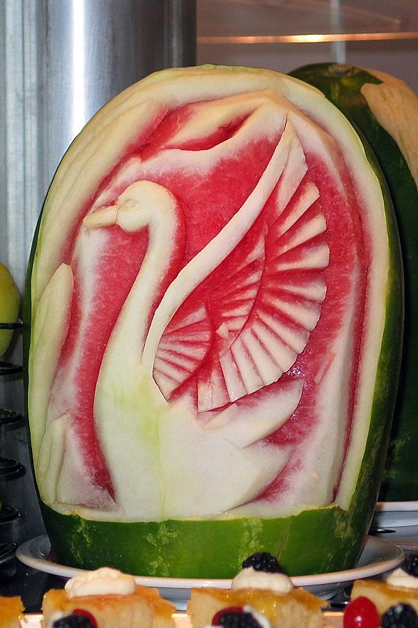 Watermelon carving goose awesome fruit veggies food