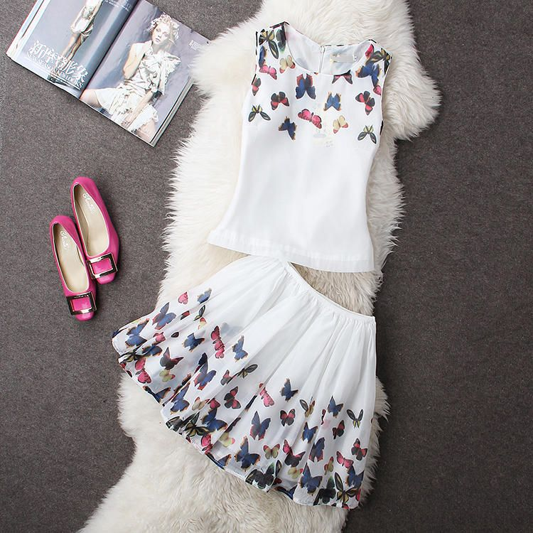 Set: Butterfly-Print Tank Top + Skirt Rainbeam   YESSTYLE