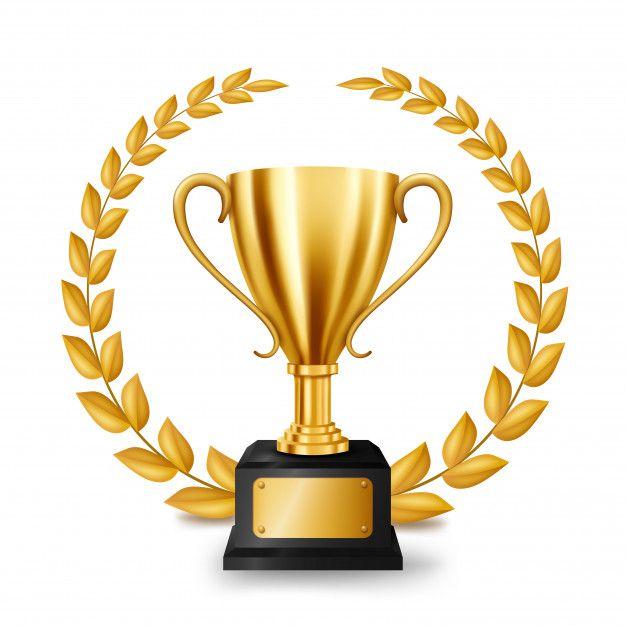 Realistic Golden Trophy With Gold Laurel Wreath Coroa De Louros Louros Trofeus E Medalhas