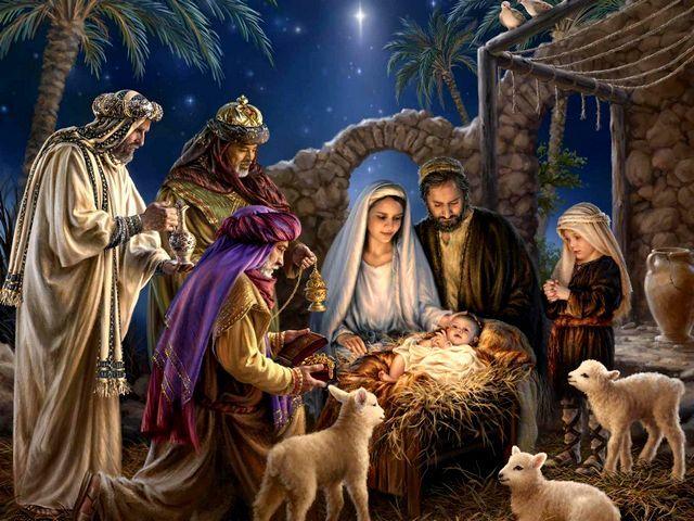 Superbe Christmas Greeting Card Nativity Scene By Donna Gelsinger