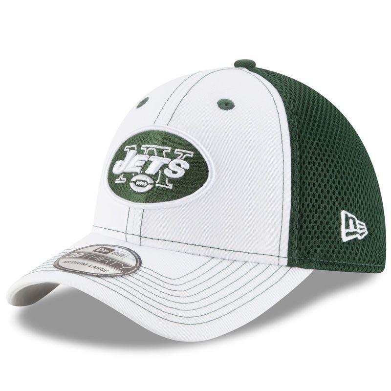 1e9dfc02f245d4 New York Jets New Era Team Front Neo 39THIRTY Flex Hat - White/Green ...