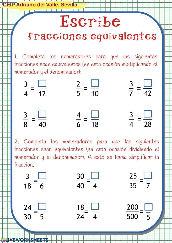 Fracciones Equivalentes Ficha Interactiva Y Descargable Puedes Hacer Los Ejercicios Online O Descargar L Fracciones Como Enseñar Fracciones Enseñar Fracciones