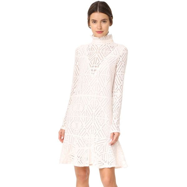 See by chloe red lace long sleeve dress