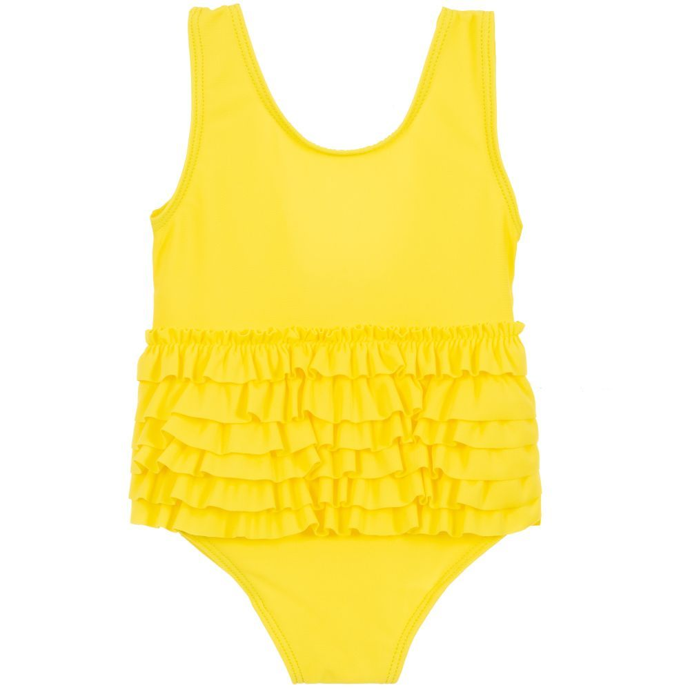 ae31dde1cc Little girls stylish bright yellow swimsuit by Lili Gaufrette. Made from  soft and stretchy lycra with frilled trim. Comes with a waterproof zipped  pouch.