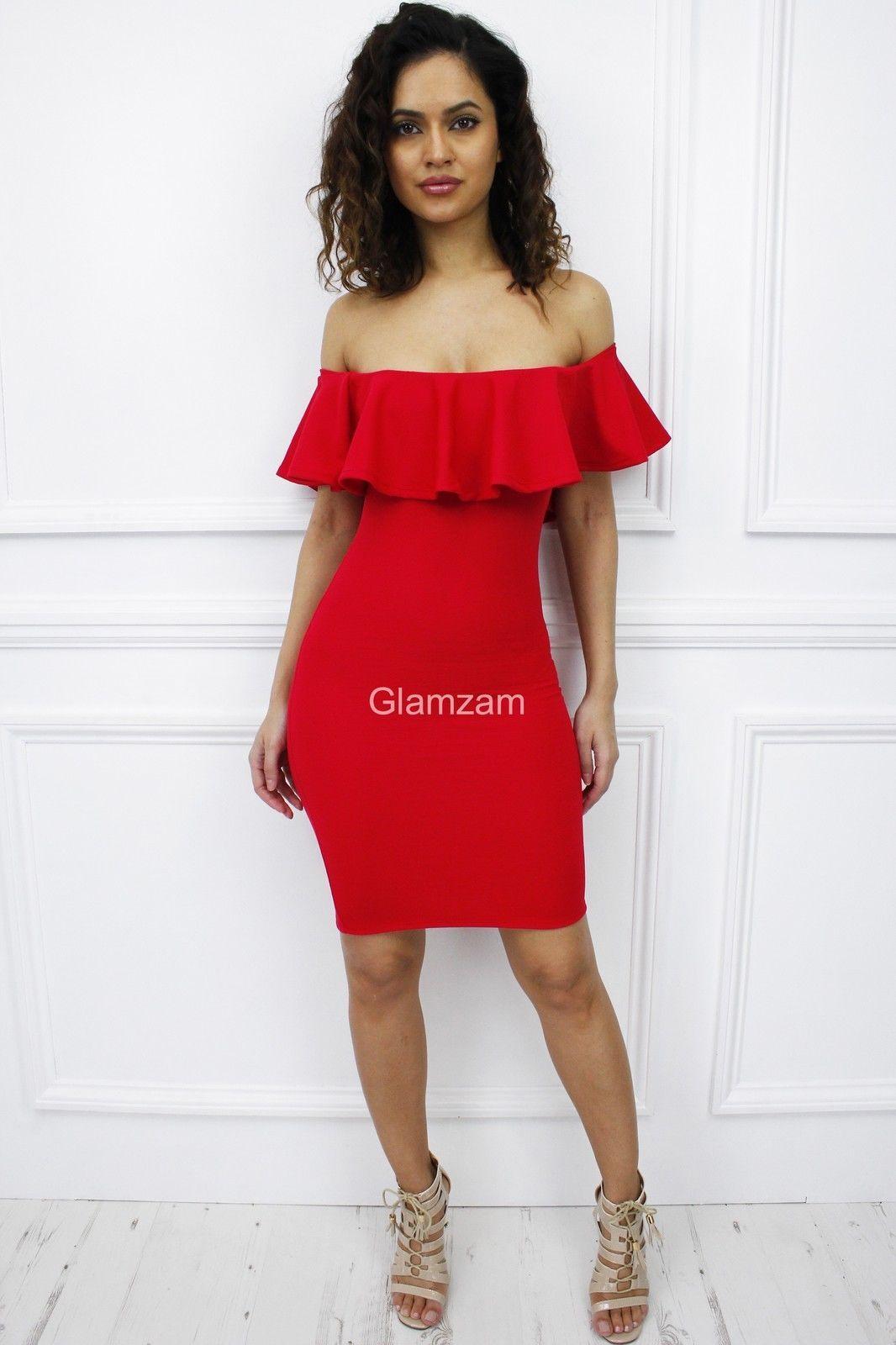 Glamzam Womens Ladies Red Off Shoulder Bardot Ruffle Frill Midi Bodycon  Dress c8ba28d98