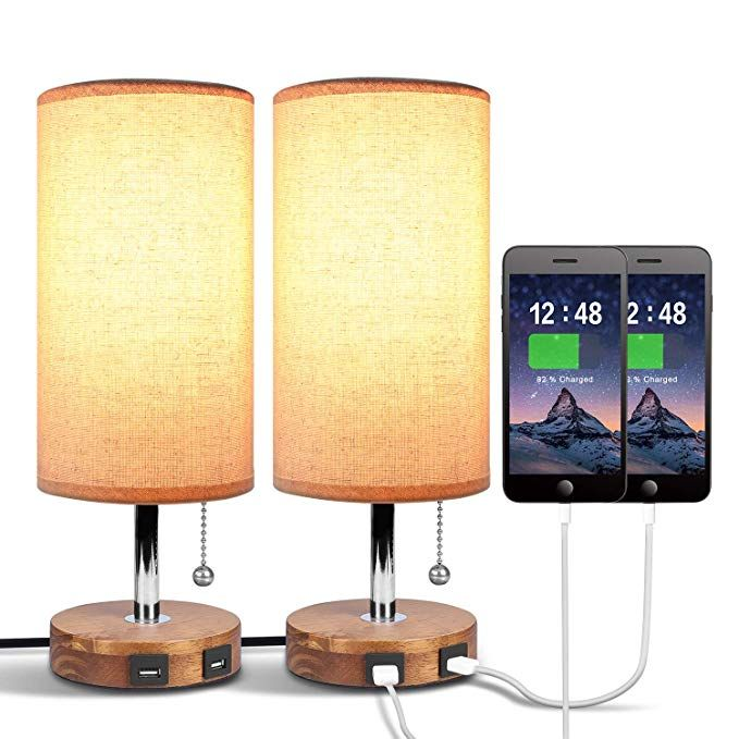 amazon: dual usb table desk lamp, bedside nightstand lamp, solid wood unique lampshde