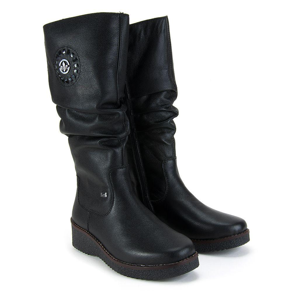 Kozaki Rieker Y4668 00 Czarne Kozaki Na Plaskim Obcasie Kozaki Buty Damskie Filippo Pl Biker Boot Boots Shoes