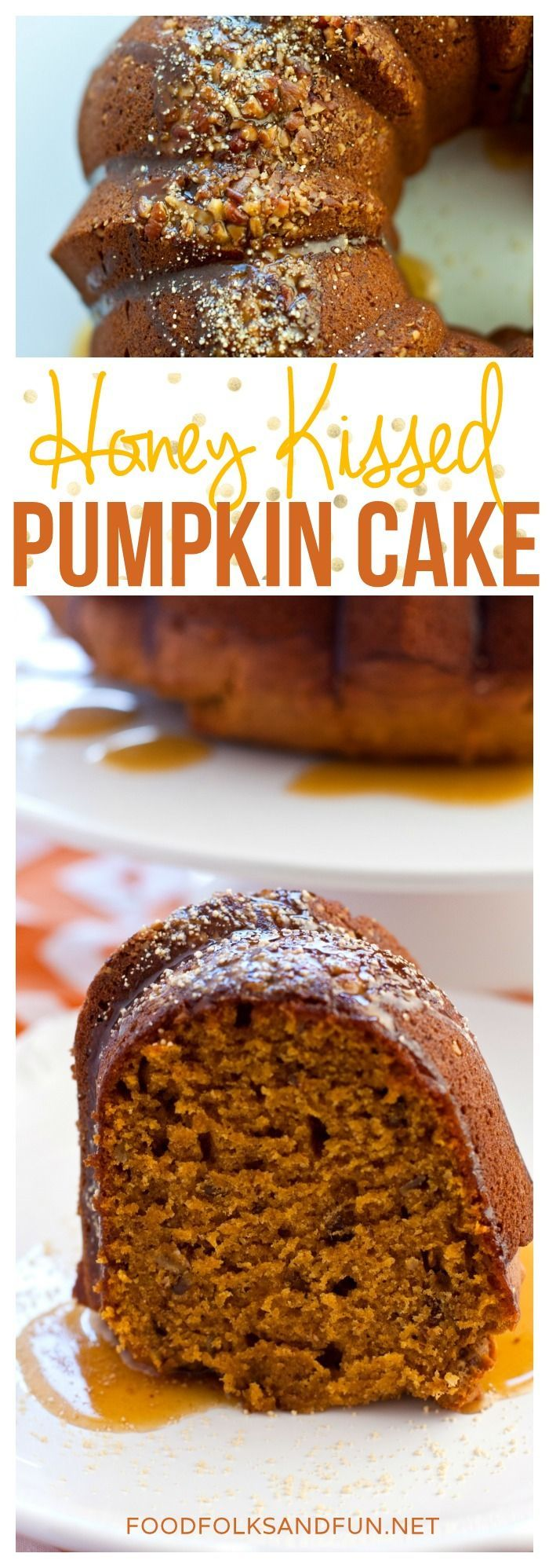 This Honey Kissed Pumpkin Cake is laced with pecans and it is sweetened with tasty honey flavor. Serve this pumpkin cake for dessert or for brunch! | Fall Dessert | Pumpkin | Pumpkin Dessert | Pumpkin Spice | Pumpkin Cake