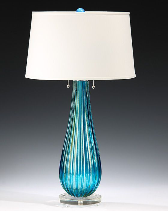 venetian glass lamp - hand-blown clear and gold and aqua venetian