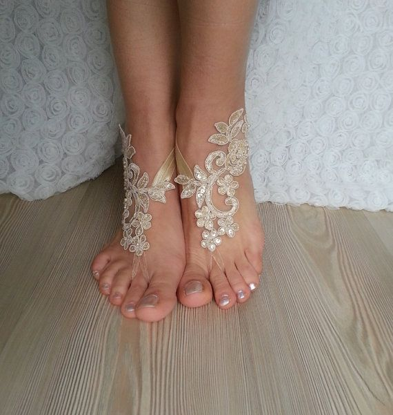 7653b739e06bc Champagne black Beach wedding barefoot sandals french lace sandals ...