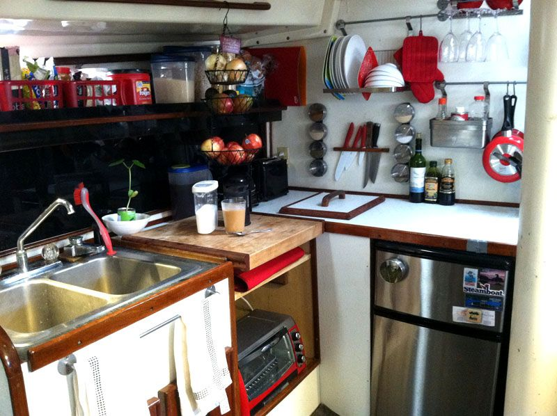 ikea sailboat galley / kitchen style http://www.sailboat-interiors