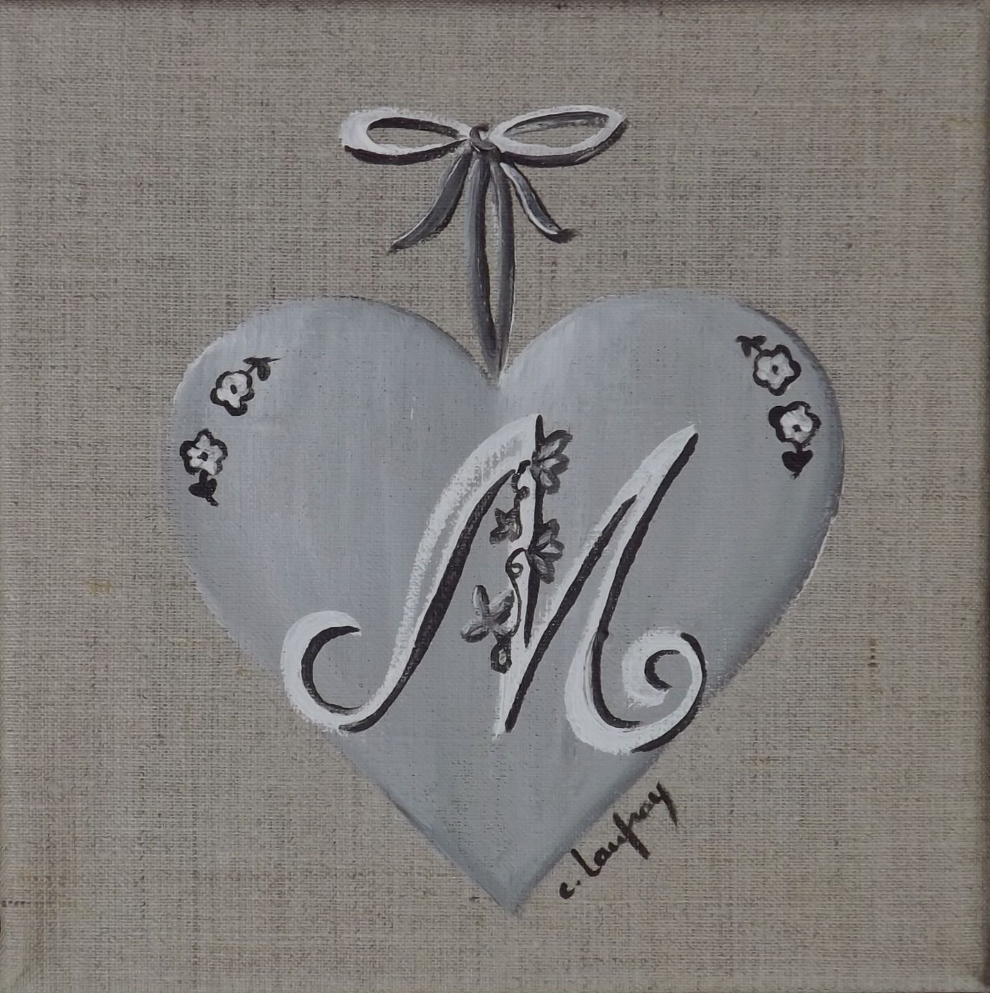 Tableau shabby chic coeur personnalis avec initiale m for Tableau style shabby chic