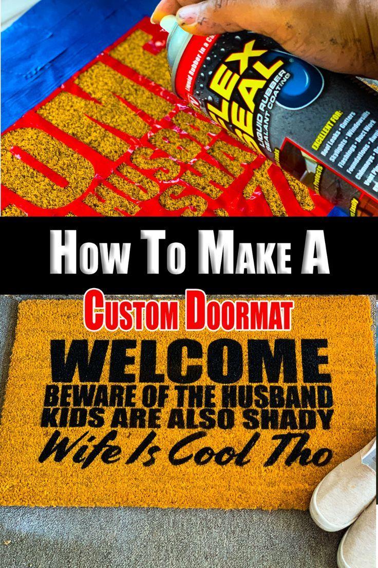 Custom doormat using cricut or silhouette stencils door