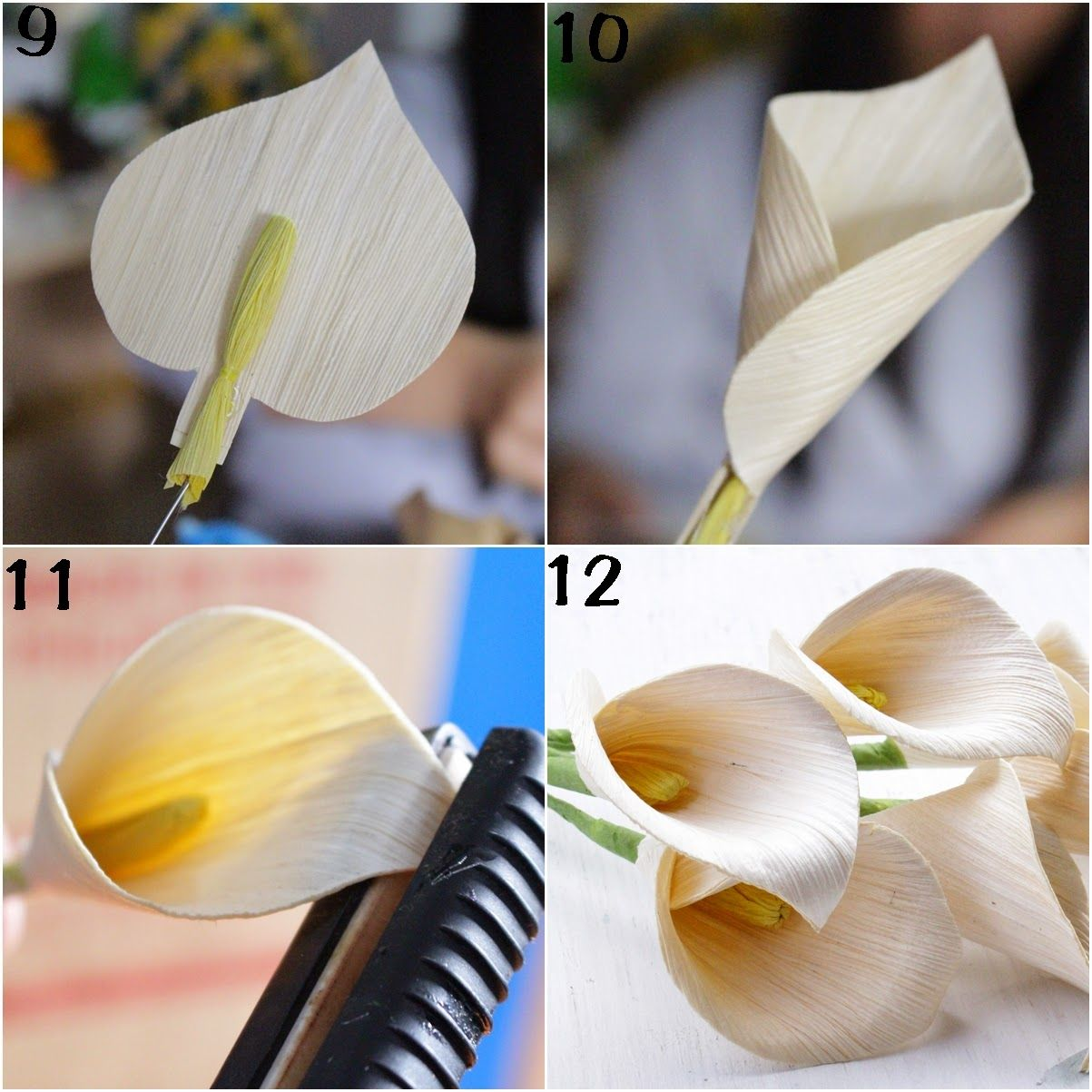 Reduce reuse recycle replenish restore diy how to make calla these calla lily flowers are fashioned from dried corn husks incorporate them to any floral arrangement project for a rustic flair izmirmasajfo